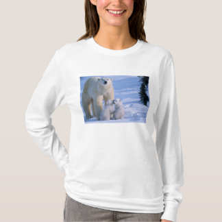 Female Polar Bear Standing with 2 Cubs at her T-Shirt