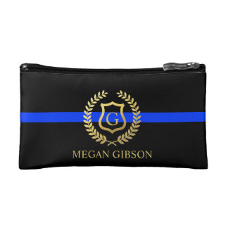 Female Police Custom Monogram Thin Blue Line Cosmetic Bag