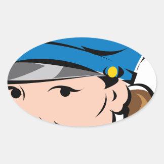 female-police-officer oval sticker