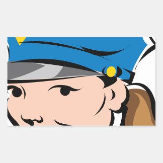 female-police-officer rectangular sticker