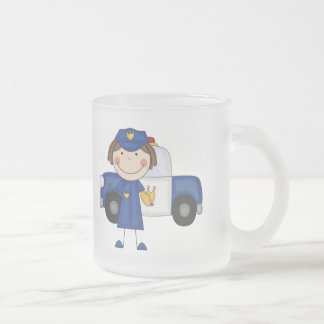 Female Police Officer Tshirts and Gifts Frosted Glass Coffee Mug