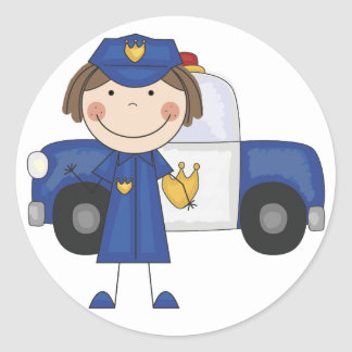 Female Police Officer Tshirts and Gifts Round Sticker
