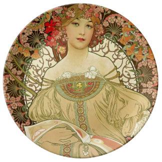 Female Portrait Alphonse Mucha Dinner Plate
