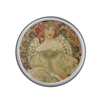 Female Portrait Alphonse Mucha Bluetooth Speaker