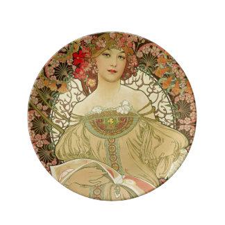 Female Portrait Alphonse Mucha Plate