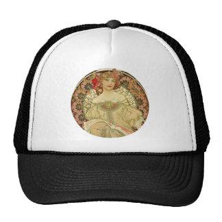 Female Portrait Alphonse Mucha Trucker Hat