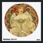"Female Portrait Alphonse Mucha Wall Decal<br><div class=""desc"">Amazing female portrait,  Champagne Printer Publisher 1897,  Alphonse Mucha,  Modern Art Noveau.</div>"