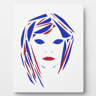 Female portrait on easel display plaque