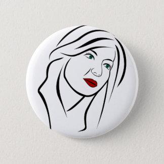 Female Portrait Pinback Button