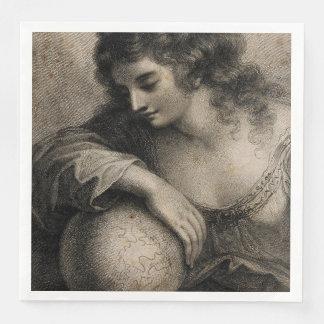Female Portrait Woman Globe Vintage Engraving Paper Dinner Napkin