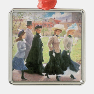 Female pupils for Confirmation Square Metal Christmas Ornament