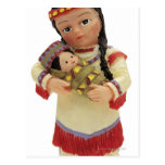 female red Indian doll holding a baby Postcard