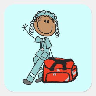 Female Respiratory Therapist or EMT Square Stickers