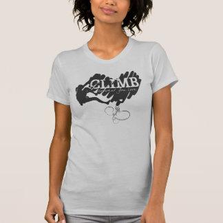 Female Rock Climber Climbing Heart T-Shirt