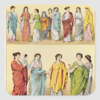 Female Roman Dress Square Sticker