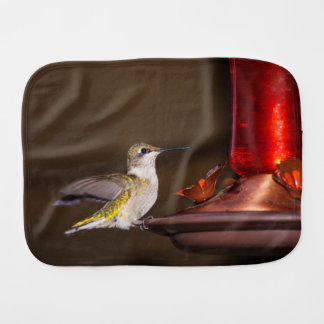 Female Ruby-throated Hummingbird Baby Burp Cloth