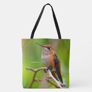 Female Rufous Hummingbird on the Plum Tree Tote Bag
