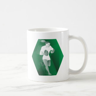 female rugby player running with ball retro mugs