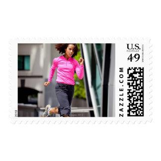 Female Runner in London Postage Stamp