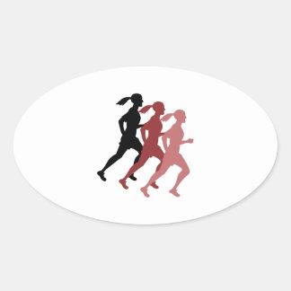 Female Runner Oval Sticker