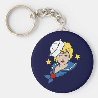 Female Sailor Tattoo Basic Round Button Keychain