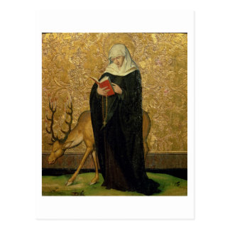 Female Saint with a Stag (oil on panel) Postcard