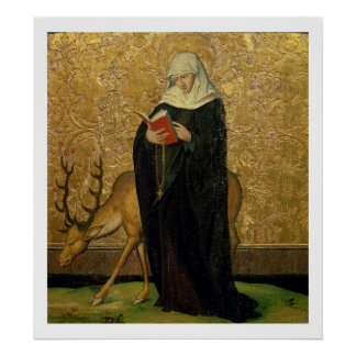 Female Saint with a Stag (oil on panel) Poster