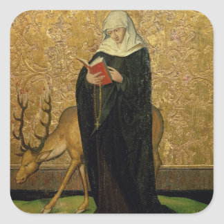 Female Saint with a Stag (oil on panel) Square Sticker