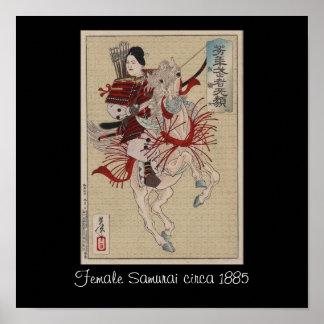Female Samurai on Horse in Armor circa 1885 Japan Print