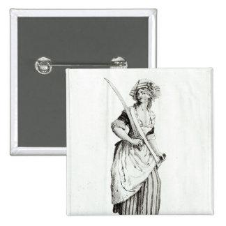 Female Sans-Culotte, 1792 2 Inch Square Button