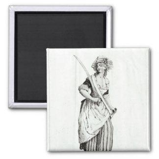 Female Sans-Culotte, 1792 2 Inch Square Magnet