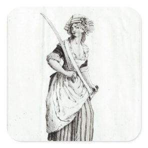 Female Sans-Culotte, 1792 Square Sticker