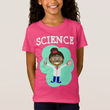 Beach Themed Female Scientist on Girls' Fine Jersey T-Shirt