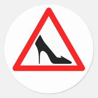 Female Shoe Sign Classic Round Sticker