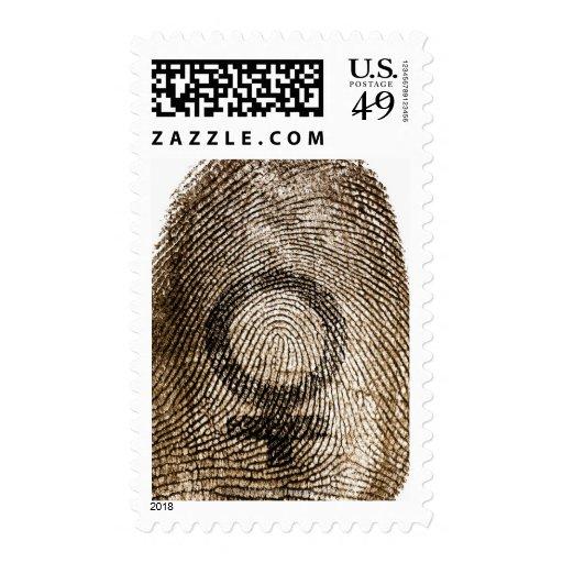 Female sign on thumbprint postage