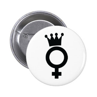 female sign with crown icon 2 inch round button