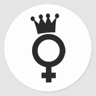 female sign with crown icon classic round sticker