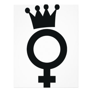 female sign with crown icon flyer