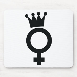 female sign with crown icon mouse pad
