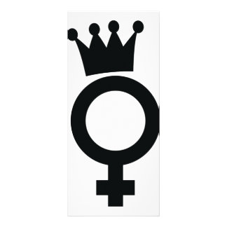 female sign with crown icon rack card