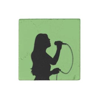 Female Singer Green Stone Magnet