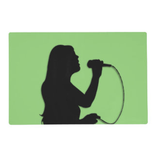 Female Singer Green Placemat