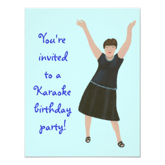 Female singer, karaoke birthday party invitations