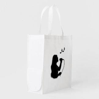 Female Singer Reusable Grocery Bag