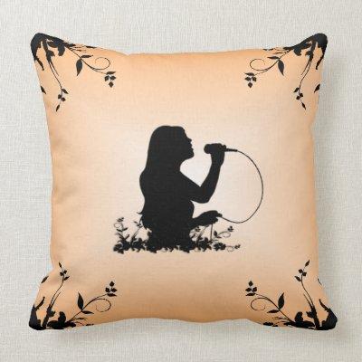 Female Singer Silhouette Mojo Throw Pillow