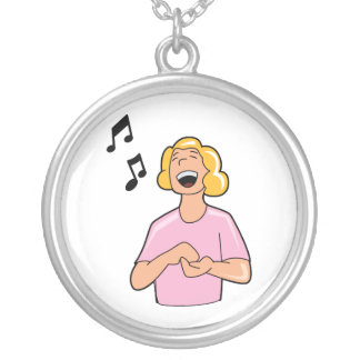 female singer top half pink shirt.png silver plated necklace