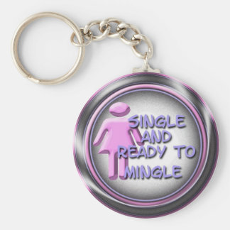 Female Single and Ready to Mingle Basic Round Button Keychain