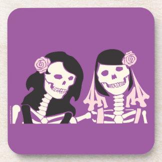 Female Skeleton Couple Coaster