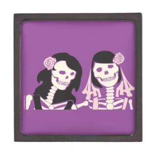 Female Skeleton Couple Keepsake Box