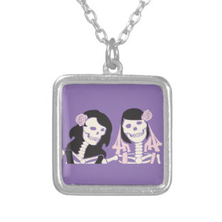 Female Skeleton Couple Silver Plated Necklace